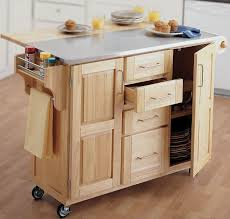 Fancy Brown Wooden Kitchen Cart WIth Drawers Also Stainless Steel Counter  Top For Ideas On How To Make A Kitchen Cart Design For Home Interior  Decoration ...