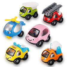 6 Pack Cartoon Construction Toy Cars, Trucks and Construction Rescue Vehicles Play Set | Push and Go Toys for Babies, Toddlers and Kids