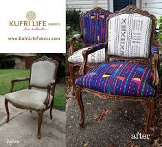 vine chairs revived with mud cloth fabric from africa and stunning blue weaves from guatemala