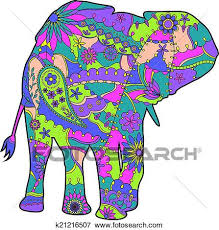 colorful elephant drawings. Wonderful Colorful Clip Art  Colorful Elephant Silhouette Fotosearch Search Clipart  Illustration Posters Drawings In Elephant E