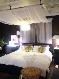 Marvelous IKEA Bedroom Design: Drape Sheer Fabric Panels From Curtain Rod Mounted On  Ceiling. Scaled