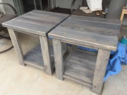 2x4 end tables made from scrap left over pieces. Boards are screwed  together hidden using