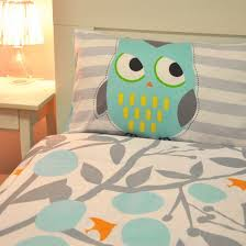 unique cartoon owl and daisy bedding set gray leaves cotton sheet sets