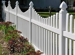 Scalloped vinyl picket fence Tan Scalloped Vinyl Picket Fence Paramount Fence Paramount Fence Vinyl Fence Installation In Michigan