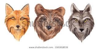 Mystical <b>totem</b> animals, forest bear, <b>wolf</b> and <b>fox</b>, <b>watercolor</b> hand ...