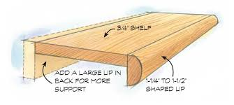 add a lip to take advantage of the thickness multiplier effect if the shelf is made of relatively weak wood consider using stronger wood for a back lip