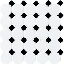 Black And White Pattern Tile Gorgeous Daltile Octagon And Dot Matte White With Black Dot 48 In X 48 In X