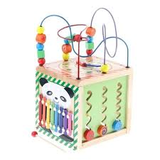baby activity cube wooden play maze educational bead center toy 5 sides of fun
