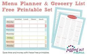 menu planner printable menu planner and grocery list printable set juggling act mama