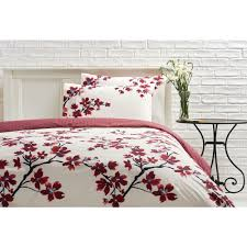 wilko symmetry blossom cream and red king size duvet set image 1
