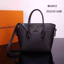 fake lv louis vuitton m54843 freedom tote handbags real leather bags black