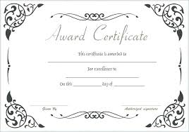 Award Certificate Template Free Award Certificate Free Printable Of Excellence Template Certificates