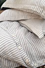 pinstriped linen duvet cover gray and white stripes stonewashed linen quilt cover doona cover pure linen bedding