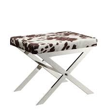 Amazon.com: Kingsbury Home Versailles Contemporary Cow Hide Fabric X-Base Vanity  Stool, Chrome Finish: Kitchen & Dining
