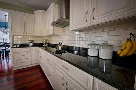 Black Granite Countertops With Tile Backsplash Cool Beautiful Kitchen White Cabinets Black Granite Subway Tile
