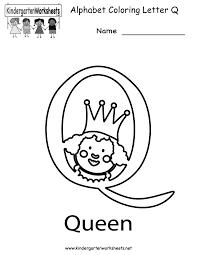 Kindergarten Letter Q Coloring Worksheet Printable