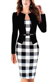 Babyonline Women Colorblock Wear To Work Business Party Bodycon One Piece Dress For Women
