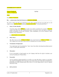 Emplyoment Letter Letter Of Employment Template