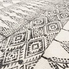 black white cotton block print area accent dhurrie rug bohemian flat weave 3 x 5