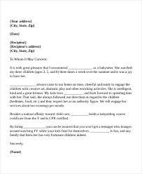 Babysitter Reference Letter 8 Babysitter Reference Letter Templates Free Sample