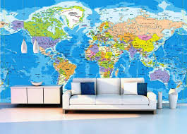 world map wall decal mural