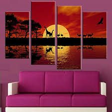 4 pcs set unframed canvas painting africa red tone combined paintings modern wall painting canvas