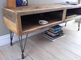 Modern industrial wood & steel TV/media stand, reclaimed barnwood with  hairpin legs.
