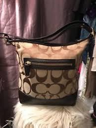 COACH Legacy Signature Duffle Shoulder Bag Crossbody Purse Cocoa Khaki  21149 EUC
