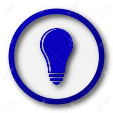 vector square blue icon lighting bulb. light bulb idea icon blue internet button on white background stock photo vector square lighting e