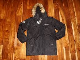 nwt mens noize black faux fur hooded lined coat parka jacket size large l