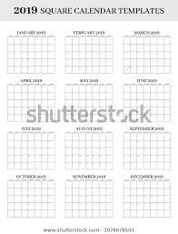 2019 12 Month Calendar Classic Serif Stock Vector Royalty