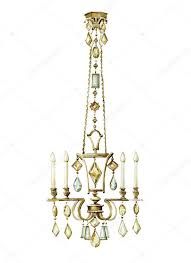 beautiful bronze chandelier with faceted glass pendants in the art deco style watercolor ilration photo by tatianaka