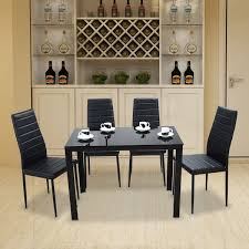 Panana Glass Dining Table Set With 4 6 Faux Leather Chairs Black