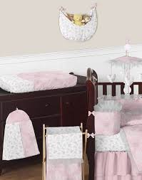 girls baby bedding sets erfly pink grey ruffle damask couture crib