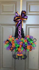 Halloween witch hat door hanger. Black, orange, purple, green deco mesh