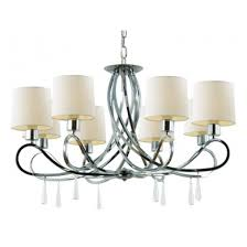 trans globe 70398 pc infinidad 8 light chandelier polished chrome crystal tapers white shades