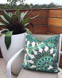 large outdoor pillows. Tropical Outdoor Cushion Covers, Turquoise Pillows, Peacock Ocean Pillows Large X