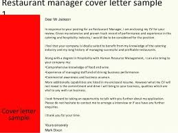 Cover Letter Restaurant Manager Of Resume Samples For Assistant