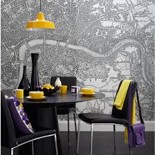 quirky living room furniture. Map Print Wallpaper And Yellow Purple Accents | Dining Rooms Room Ideas - Quirky Living Furniture