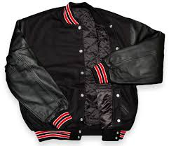 20varsity letterman jackets black black red trim front