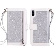 glitter shiny zipper leather phone case protective cover with lanyard for iphone xr silver
