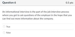 Good Questions To Ask In An Informational Interview Solved Question 6 0 5 Pts An Informational Interview Is T