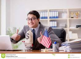 The Businessman With American Flag In Office Stock Photo Image Of