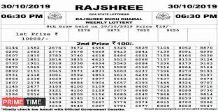 Rajshree Result Chart Goa Rajshree Lottery Result Today At 06 30 Pm As On 30 10