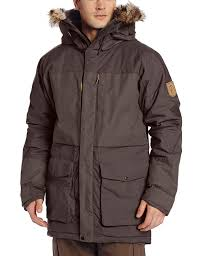 fjallraven bas parka men s winter coat in dark grey
