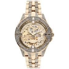 elgin men s crystal bezel transparent automatic skeleton watch elgin men s crystal bezel transparent automatic skeleton watch