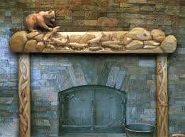 this mantel could more accurately be described as a sculpture rather than a carved mantel the fish on the mantel are carved in the round and attached to
