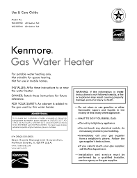 Gas Water Heater Will Not Light Kenmore 153337021 User Manual Gas Water Heater Manuals And