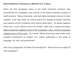 eap from paragraph to essay this paragraph and decide what 9 native american influences on modern u s culture