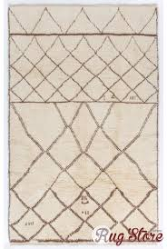ivory color moroccan berber beni ourain design rug with brown diamond patterns handmade 100 wool